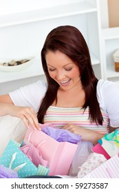 Animated woman with shopping bags at home