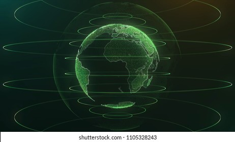 Animation Globe with dot world map HUD and infographic graph bar element spin on dark background. Animation of abstract data with globe of earth in digital space. Global business backdrop. Animation
