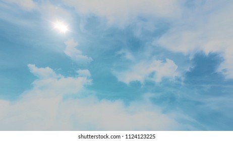 Animation of Moving clouds and blue sky. Beautiful cloudscape with large, building clouds and sunrise breaking through cloud mass. Time lapse of cloudscape with bright sun shining with clouds passing.