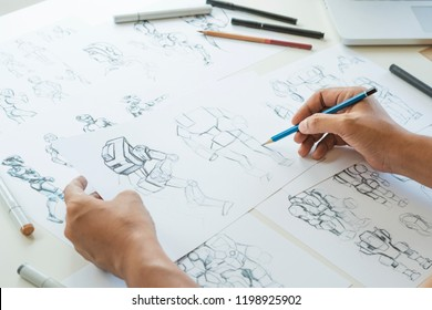 Animator Designer Sviluppo progettazione disegno schizzo sviluppo creazione grafica personaggi posa fantascienza robot Cartoon illustrazione animazione video game produzione film, studio di progettazione di animazione.