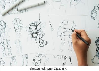 Animator designer Development designing drawing sketching development creating graphic pose characters sci-fi robot Cartoon illustration animation video game film production , animation design studio.