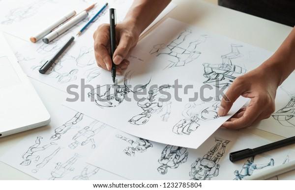 Дизайнер Аниматор Разработка дизайн рисунок эскиз развитие создание графических поз персонажей научно-фантастический робот мультфильм иллюстрация анимация видеоигры фильм производство, анимация дизайн-студии.