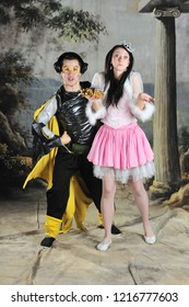 Animators in costumes of Princess and Mouse in the Studio in Moscow on October 21, 2012