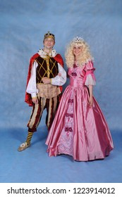 Animators in Prince and Princess costumes in the Studio on a blue background in Moscow June 10, 2014
