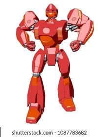 Anime style giant robot. 3D illustration