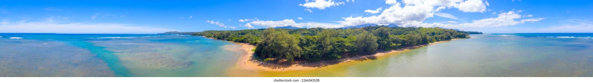 Anini Beach Kauai Hawaii 360 Aerial Panorama White Sand