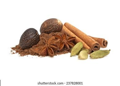 Anise, cardamom, nutmeg and cinnamon sticks on a white background