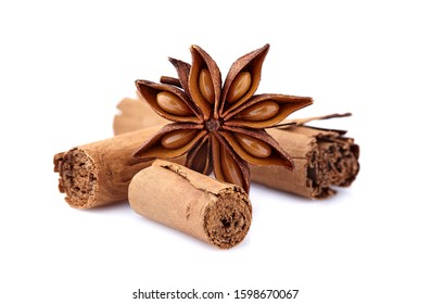 Anise  with cinnamon on white background. Spices isolated.