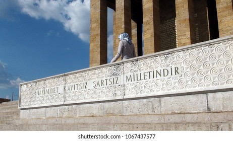 Anitkabir, Ankara, Turky, December 1, 2017: A woman walking in the Anitkabir. Anitkabir is the mausoleum of Ataturk, the first President of the Republic of Turkey.