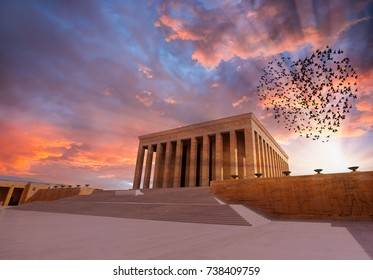 Anitkabir - Mausoleum of Ataturk, Ankara Turkey - Silhouettes of flying flock birds (in shape of heart)