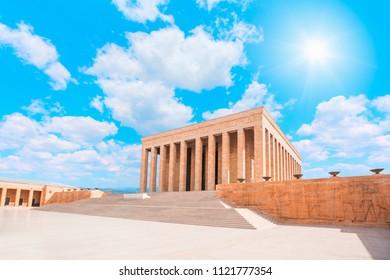 Anitkabir - Mausoleum of Ataturk with bright cloudy sky - Ankara Turkey