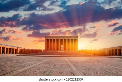 Anitkabir, Mausoleum of Ataturk with dramatic cloudy sky, Ankara Turkey