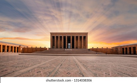 Anitkabir, Mausoleum of Ataturk with dramatic cloudy sky, Ankara Turkey