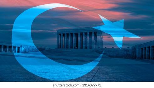 Anitkabir, Mausoleum of Ataturk with dramatic cloudy sky, Ankara Turkey - 10 Kasim November 10 death day Ataturk