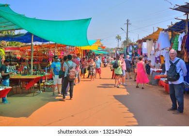Anjuna, India - January 30, 2019: Stalls selling various decorative products at the flea market in Goa.