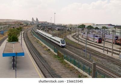 ANKARA - AUG 18: TCDD (The Turkish State Railways) High Speed Train on August 18, 2013 in Ankara , Turkey.