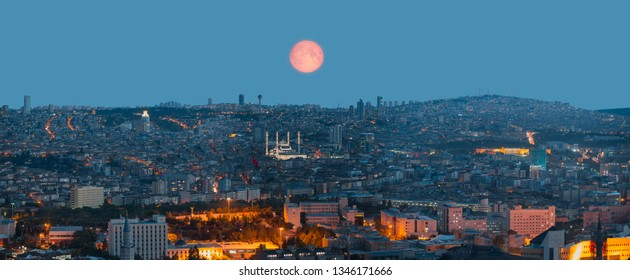 "Ankara, Capital city of Turkey at twilight blue hour with full moon ""Elements of this Image Furnished by NASA"""