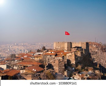 ankara castle and turkish flag