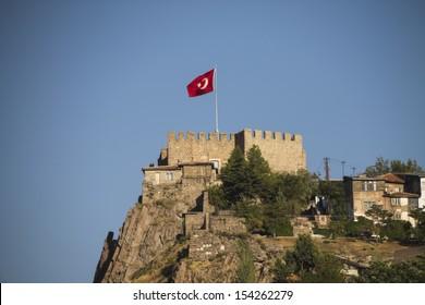 Ankara castle with Turkish flag, Ankara, Turkey.