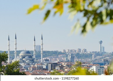 Ankara city view with prominent buildings like Kocatepe Mosque and Atakule during autumn season - Ankara, Turkey