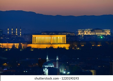 Ankara cityscape with anitkabir centered and Presidential Palace and Millet Mosque at background