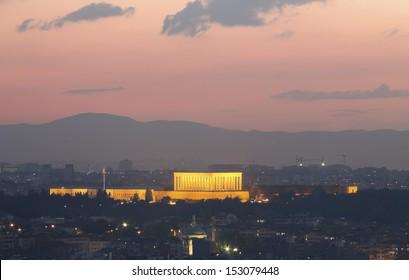 Ankara cityscape with mausoleum of Mustafa Kemal Ataturk, Ankara, Turkey.