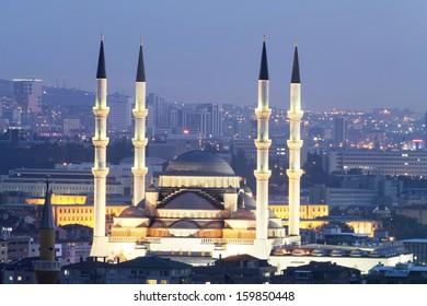 Ankara, Kocatepe Mosque at night.