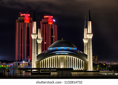 Ankara - May 23, 2014: Ahmet Hamdi Akseki Mosque. It is the largest and newest mosque in Ankara and known as VIP or Darth Vader Mosque.