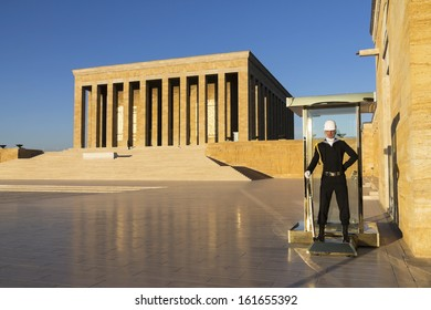 ANKARA - OCT 15: Turkish Soldier guarding the mausoleum of Mustafa Kemal Ataturk who is the leader of the Turkish Independence War and the founder of the Republic of Turkey on 15 October 2013, Ankara