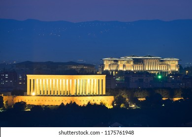 Ankara skyline - Mausoleum of Ataturk and Presidential Palace at night - Ankara, Turkey