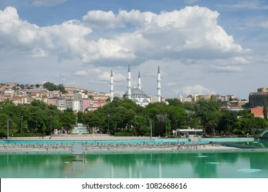 Ankara in springtime - Melike Hatun Mosque as seen from Youth Park (Genclik Parki) - Ankara, Turkey