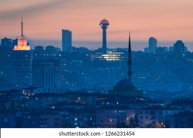 Ankara in sunset - Skyline view with major symbol buildings in the Capital city of Turkey - Ankara, Turkey