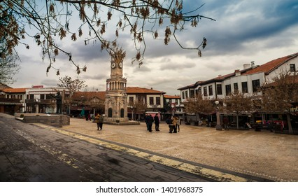 ANKARA, TURKEY - 01 FEB 2019: View of the Clock Tower (Hamamonu), the central of ANKARA, Capital of Turkey