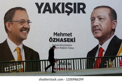 Ankara, Turkey 03,06,2019 AK Party's  General President and Turkey's President Recep Tayyip Erdogan(R) with Ankara mayoral candidate, Mehmet Ozhaseki's(L) huge election posters seem on Ankara streets
