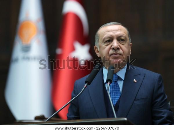 Ankara, Çankaya / Turkey - 12 25 2018: president of the republic of turkey Recep Tayyip Erdogan