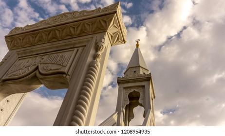 ANKARA, TURKEY- 13 OCTOBER 2018: White mihrab and minbar in the Haci Bayram Square, Altindag