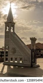 ANKARA, TURKEY- 13 OCTOBER 2018: at White mihrab and minbar in the Haci Bayram Square at sunset, Altindag