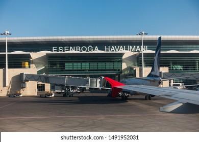 ANKARA, TURKEY - AGUST 26, 2019: Esenboga International Airport in Ankara, Turkey.