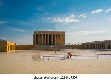 Ankara , Turkey: Anitkabir is the mausoleum of the founder of Turkish Republic, Mustafa Kemal Ataturk.