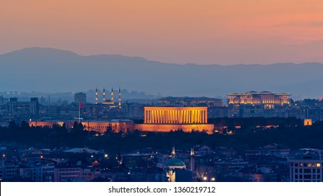 Ankara / Turkey - April 04 2019: Ankara cityscape with anitkabir centered and Presidential Palace and Millet Mosque at background sunset