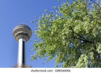 ANKARA, TURKEY - APRIL 08, 2018: Atakule and spring blossoms. Atakule is one one of the primary landmarks of Ankara.