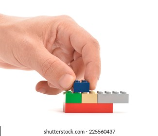 Ankara, Turkey - April 09, 2013: Lego blocks to be assembled to build a house isolated on white background.
