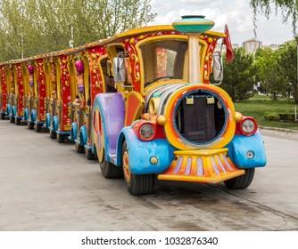 "Ankara, Turkey - April, 2014: The train for tourists in ""Theme park of Harikalar Diyari""."