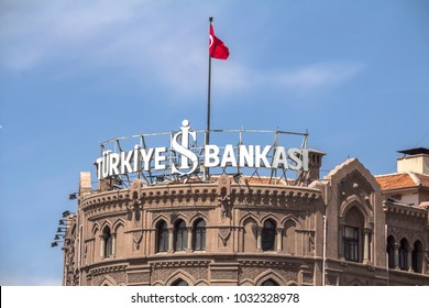 Ankara, Turkey - April, 2015: IS BANK, the biggest Turkish private bank, Ulus branch, Isbank is the first national bank of the Republican era