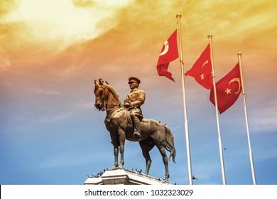 ANKARA, TURKEY - APRIL, 2015: Statue of Ataturk, the founder of modern Turkey, Ulus, Ankara