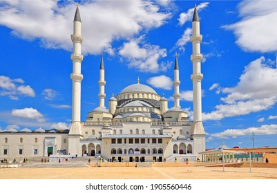 ANKARA, TURKEY: April 22, 2013 - Kocatepe Mosque building exterrior in Ankara, Turkey.