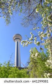 ANKARA, TURKEY - APRIL 28, 2017: Atakule and spring blossoms. Atakule is one one of the primary landmarks of Ankara.