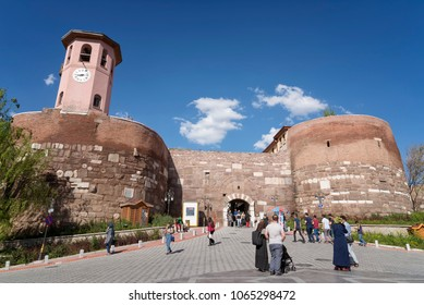 ANKARA, TURKEY, APRIL 8, 2018: People walking near the outer walls of Ankara Castle, a fortification from the late antique / early medieval era in Ankara, Turkey.