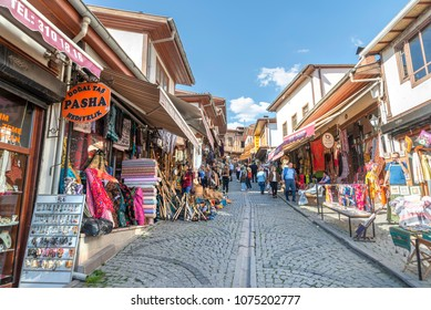 ANKARA, TURKEY, APRIL 8, 2018: People shopping at the bazaar inside Ankara Kaleici, old settlement area inside Ankara Castle, famous landmark of Ankara, Turkey.