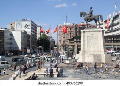 ANKARA, TURKEY - Ataturk monument in city center, Ulus square shown on MSEPTEMBER 16, 2016 in Ankara. Ulus is old city center of Ankara,Capital city of Turkey